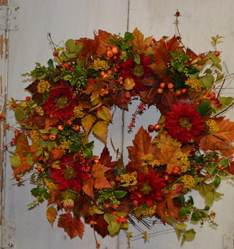 Custom Autumn Darling Dahlia Wreath