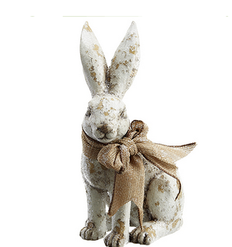 Glittered Bunny with Burlap Bow