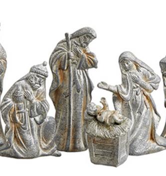 6 Piece Gray Nativity Set