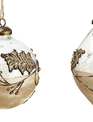 Rustic Glass Holly Ornament
