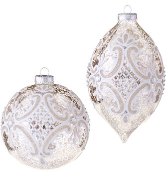 Mercury Glass Scroll Ornament (2 Styles)