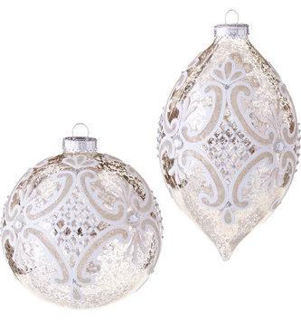 Mercury Glass Scroll Ornament (2 Styles)