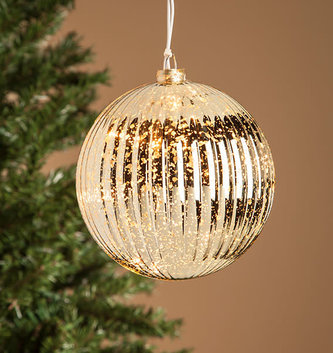 Pre-Lit Electric Mercury Glass Ball Ornament (3 Colors)