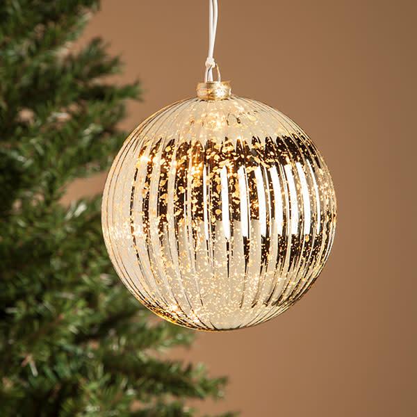 Pre-Lit Electric Mercury Glass Ball Ornament