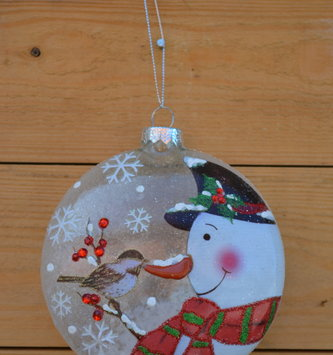 Snow-Filled Snowman Disk Ornament