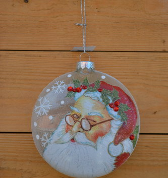 Winking Santa Disk Ornament