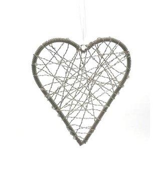 Beaded Metal Hanging Heart Ornament