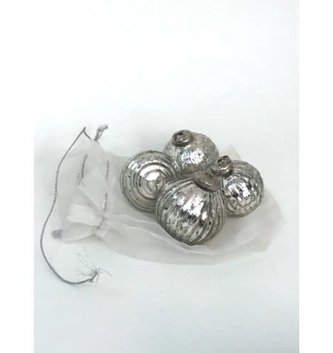 Set of 8 Small Antique Silver Glass Ornaments