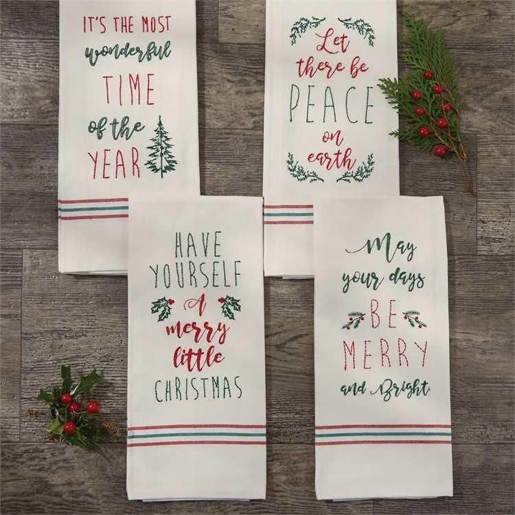 Embroidered Christmas Hand Towel