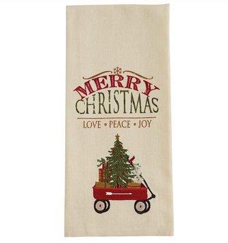 Embroidered Merry Christmas Wagon Towel