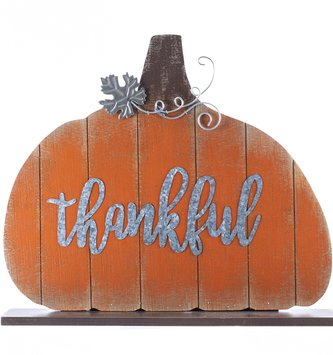 Standing Wooden Thankful Pumpkin