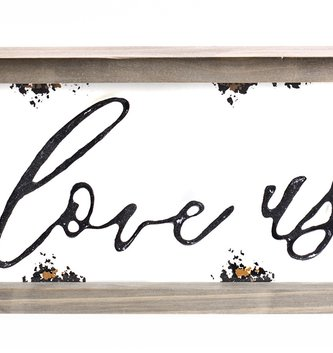 Enamel Framed I Love Us Sign