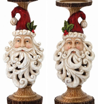 Scrolled Santa Candlestick (2 Sizes)