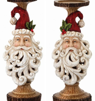 Scrolled Santa Candlestick (2 Sizes)