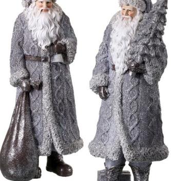 Shimmer Gray Cable Knit Santa (2 Styles)
