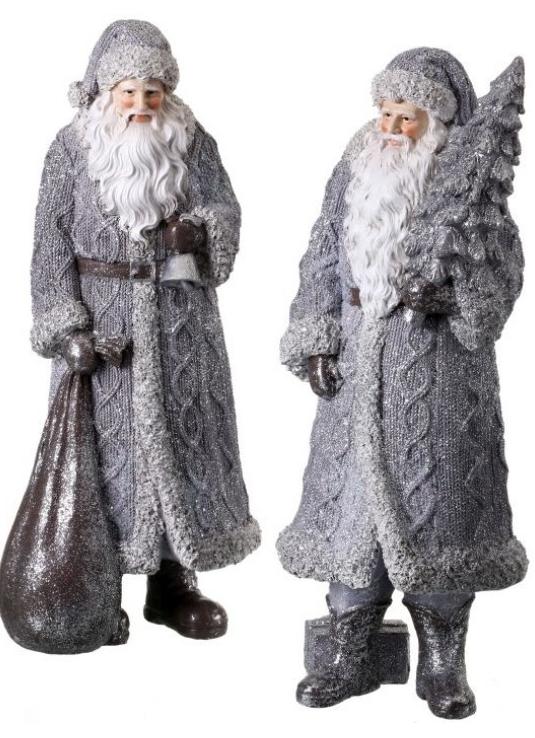 Shimmer Gray Cable Knit Santa