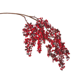 Red Drape Iced Berry Cluster Spray