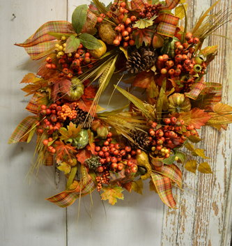 Custom Fall Pumpkin Ribbon Wreath