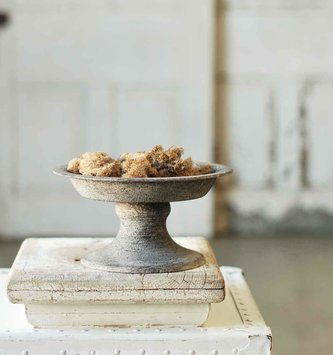 Gray Distressed Container on Pedestal