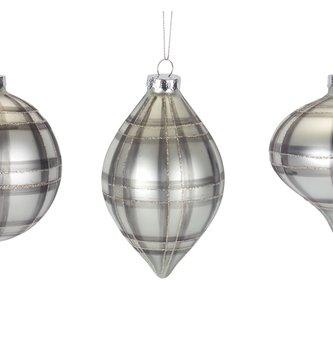 Glass Gray Plaid Ornament