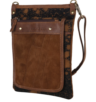 Brown Leather Zip Vela Crossbody