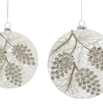 Frosted Glass Pinecone Disk Ornament