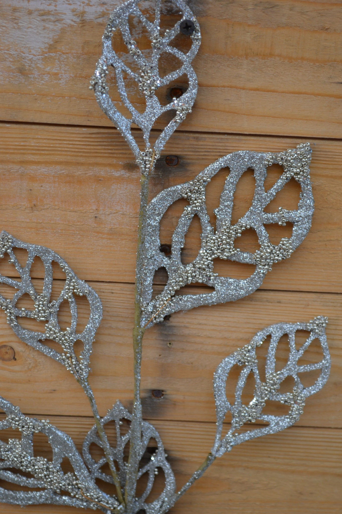 "30"" Beaded Cut-Out Leaf Spray"