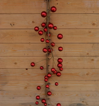 4-ft Metallic Red Ball Garland