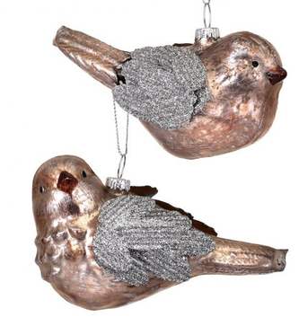 Mercury Glass Glitter Bird Ornament (2-Styles)