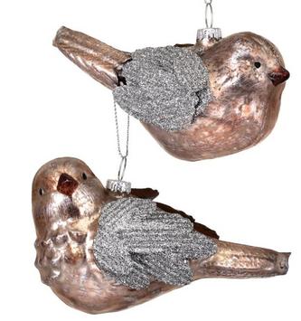 Mercury Glass Glitter Bird Ornament (2-Styles)