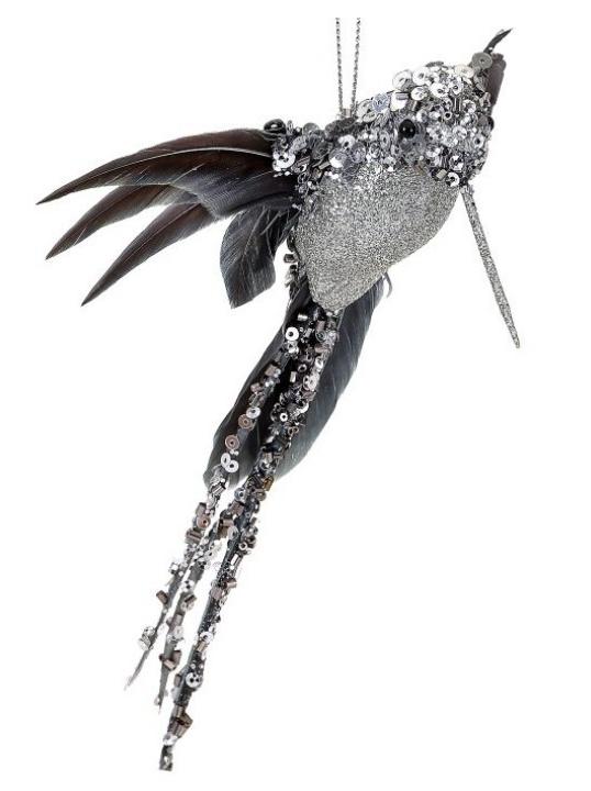 Glitter Beaded Hummingbird Ornament