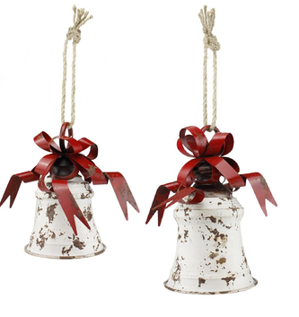 Distressed Metal Holiday Bell with Bow (2-Sizes)
