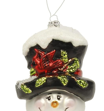 Glass Snowman Head Ornament