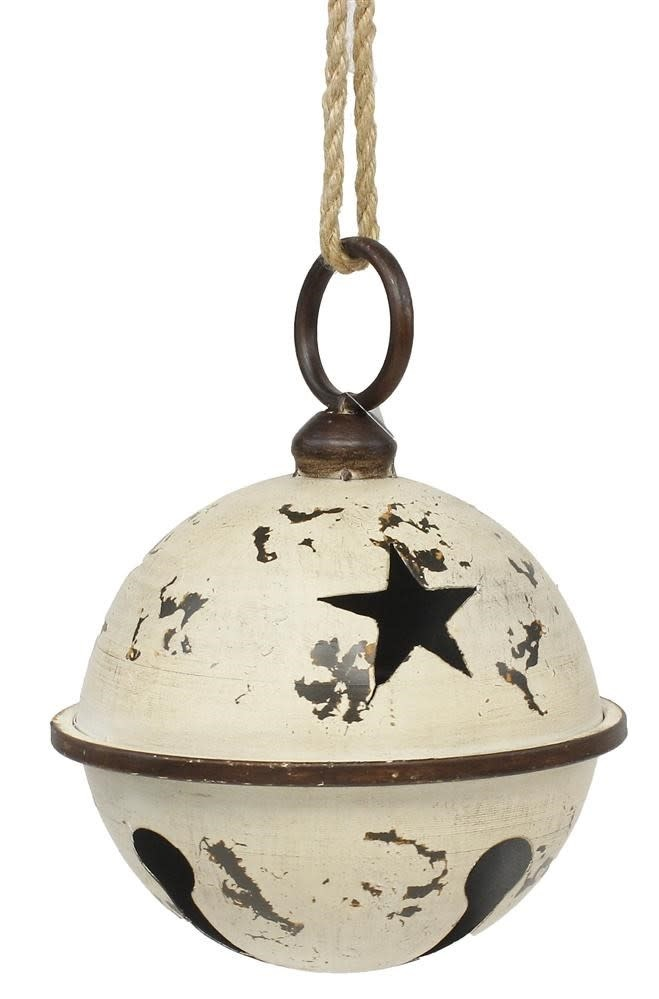 Cream Cut-Out Star Metal Jingle Bell