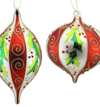 Large Glass Striped Holly Ornament