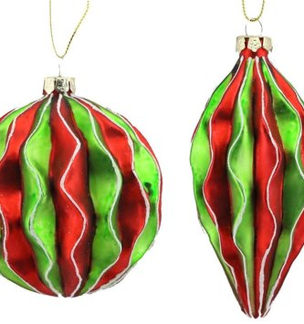 Wavy Striped Glass Ornament