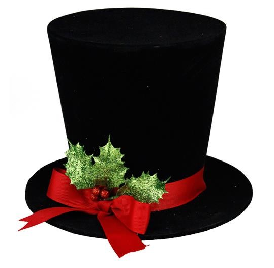 Top Hat with Glitter Holly Bow