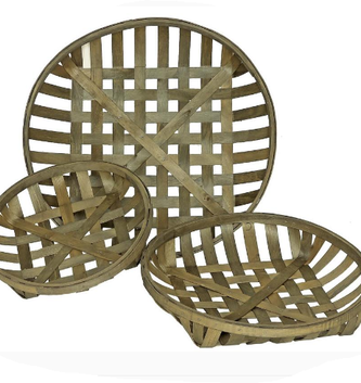 Round Wooden Lattice Basket (3 Sizes)