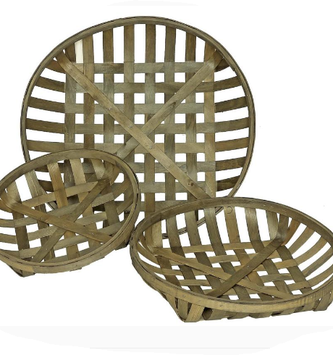 Round Wooden Lattice Basket (3 Sizes)