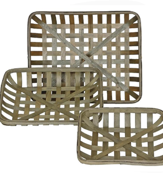 Rectangular Wooden Lattice Basket (3-Sizes)