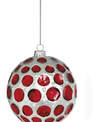 Red & White Dotted Glass Ball Ornament