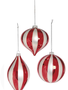 Red & White Glass Striped Ornament (3-Styles)
