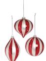 Red & White Glass Striped Ornament