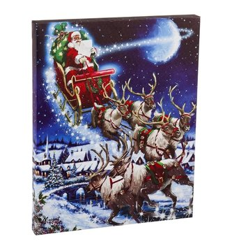 Musical LED Santa and Sleigh Canvas