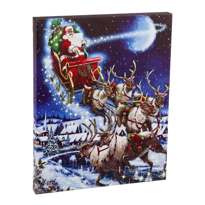 Musical LED Santa and Sleigh Canvas