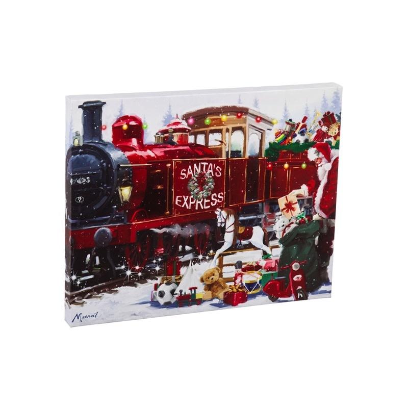 Musical LED Santa Express Canvas