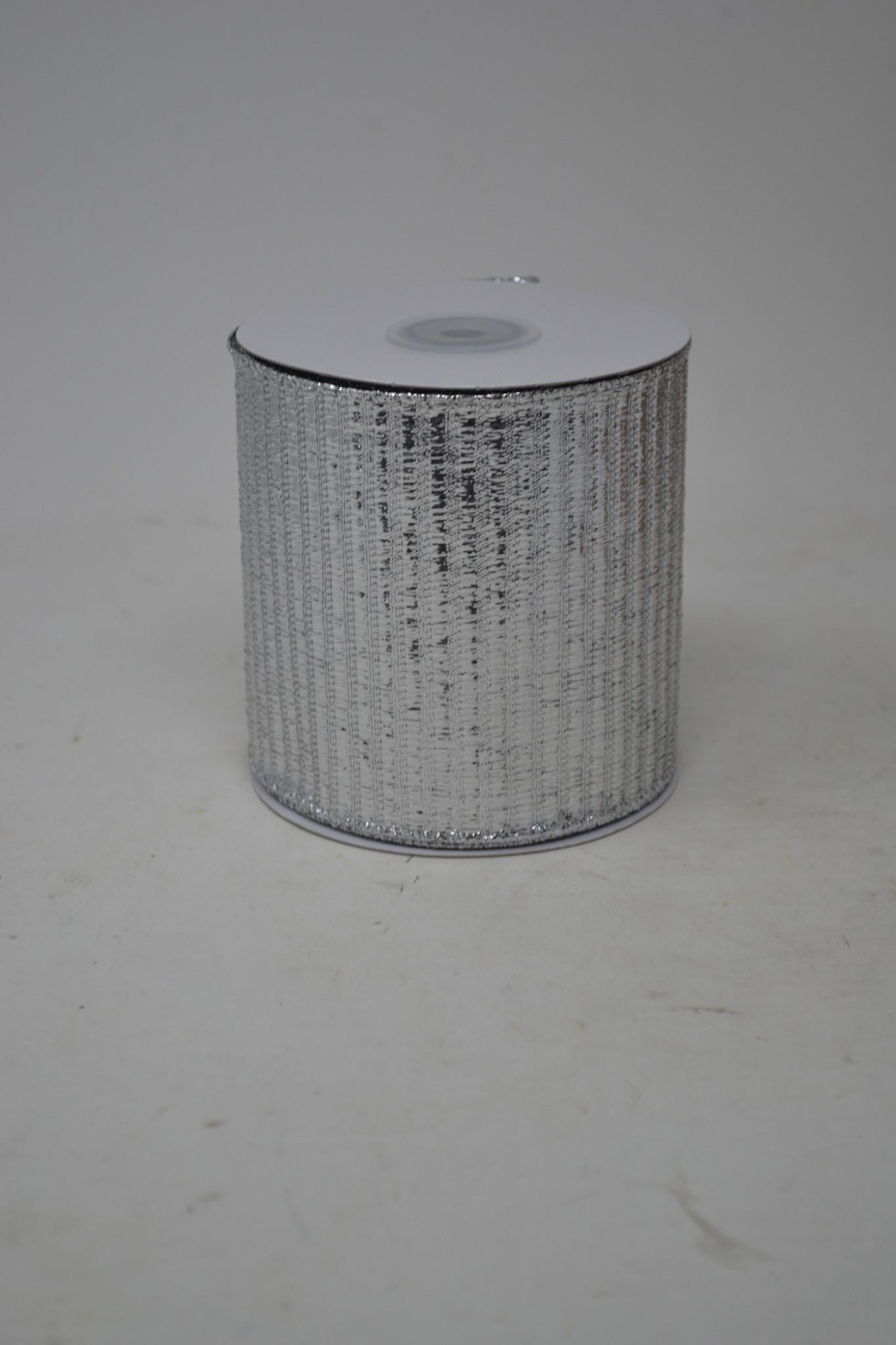 Lame Striped Metallic Wired Edged Ribbon