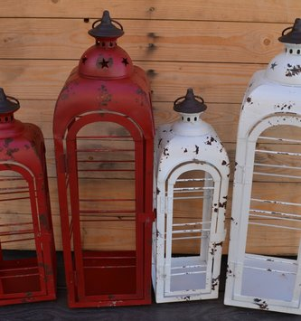 Distressed Metal Open Lantern (2 Colors,  2 Sizes)