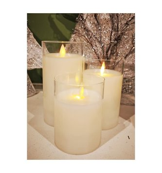 Set of 3 LED Battery Operated Pillar Candles w/ Remote