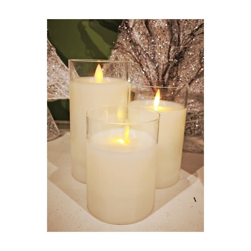 Set of 3 LED Battery Operated Pillar Candles with Remote